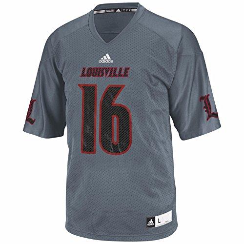 - adidas Louisville Cardinals NCAA Men's Grey Official Football #16 Jersey (M)