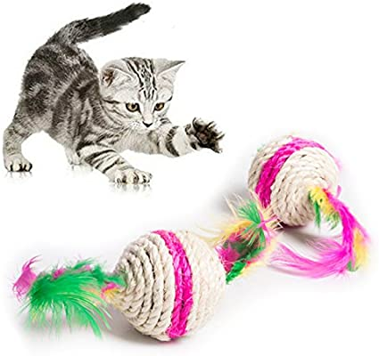 GUOYIHUA 5,5 cm colorido juguete de gato de pluma interactivo ...