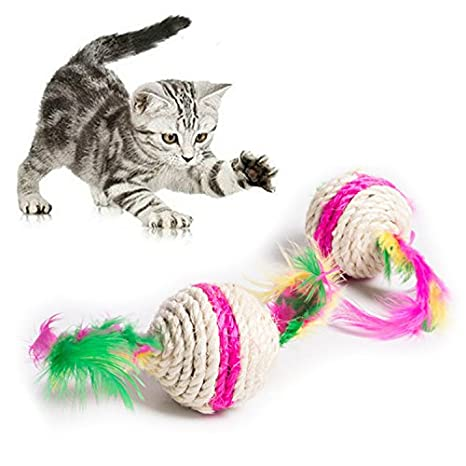 GUOYIHUA 5,5 cm colorido juguete de gato de pluma interactivo juguetes para gato juguetes para jugar a arañazos entretenimiento: Amazon.es: Productos para ...