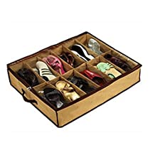 12 Pairs Shoes Storage Organizer Under Bed shoes Closet Storage Fabric Bag Box