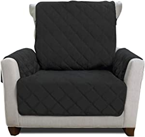 Mighty Monkey Premium Reversible Chair Protector for Seat Width up to 23 Inch, Furniture Slipcover, 2 Inch Strap, Chairs Slip Cover Throw for Pets, Dogs, Cats, Armchair, Black Gray
