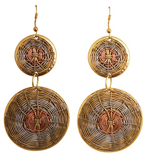 Touchstone New Indian Bollywood Desire Finely Handcrafted Wire Concentric Pretty Look Designer Jewelry Earrings in Antique Gold Silver Copper Tones for Women