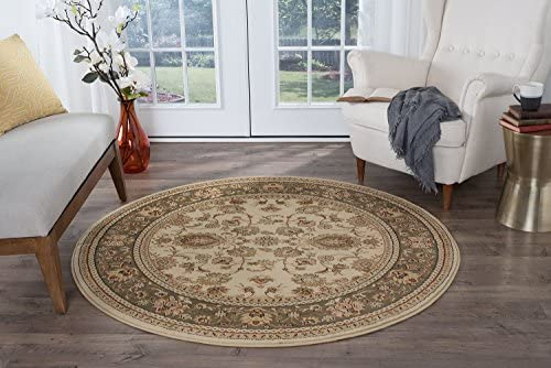 Gabrielle Traditional Oriental Ivory Round Area Rug