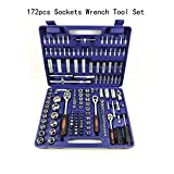 172pcs Auto Tool Kit Hand Tool Set General Household Hand Tool Kit with Plastic Toolbox Storage Case Socket Wrench