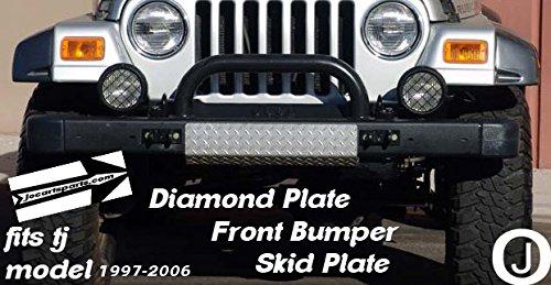 Jeep Wrangler Tj Diamond Plate Front Bumper Center Skid Plate Aluminum