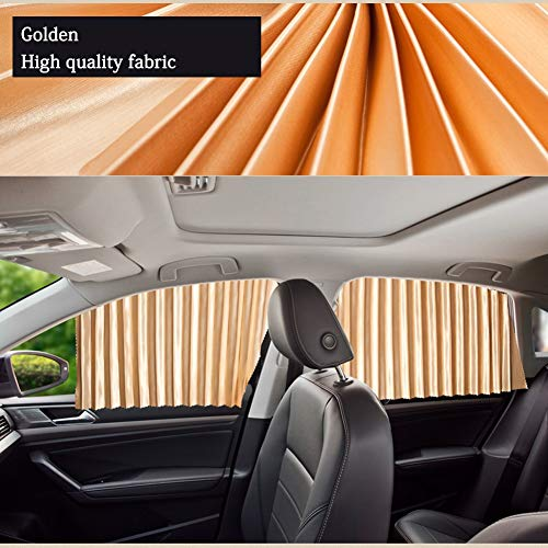 Car Curtains Privacy Windshield Sunshade Curtain Side Window Uv Protection Luxury Auto Sunshade Slidable Sunproof Taxi Cab Retractable Protector(Black, Silver, Gold)Gold Two front side windows