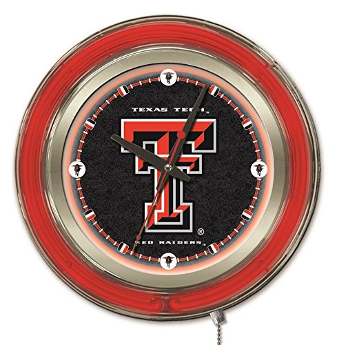 Holland Bar Stool Company NCAA Texas Tech Red Raiders Double Neon Ring Logo Clock, 15-Inch Diameter, Chrome