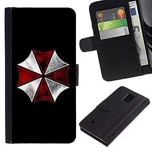 Be Good Phone Accessory // Caso del tirón Billetera de Cuero Titular de la tarjeta Carcasa Funda de Protección para Samsung Galaxy Note 4 SM-N910 // Umbrella Corp Evil