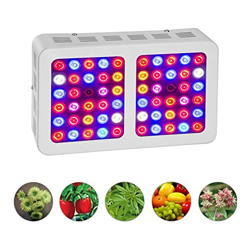 HILLPOW 300W Full Spectrum Plants LED Grow Lights Kits, Indoor Plants Growing Lamps for Greenhouse Flowering Blooming (White) by HILLPOW