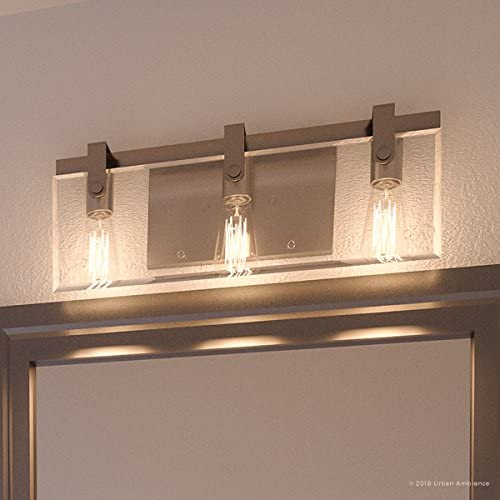Luxury Modern Farmhouse Bathroom Vanity Light, Medium Size 8.38 H x 22.75 W, with Industrial Chic Style Elements, Brushed Nickel Finish, UHP2451 from The Bristol Collection by Urban Ambiance