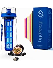Hydracy Fruit Infuser Water Bottle - 32 Oz Sports Bottle - Full Length Infusion Rod, Time Marker & Insulating Sleeve + 27 Fruit Infused Water Recipes eBook Gift - Your Healthy Hydration Made Easy