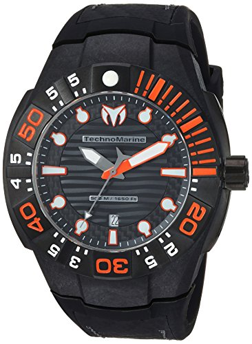 (Technomarine Men's Reef Stainless Steel Quartz Watch with Silicone Strap, Black, 1 (Model: TM-515028))