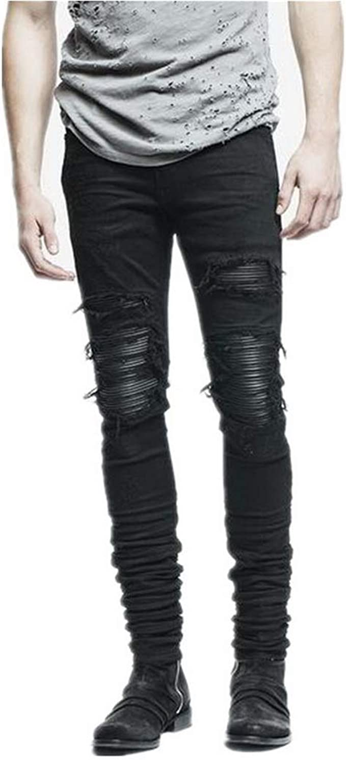 Mens Destroyed Ripped Skinny Denim Jeans Stretch Patches Biker Pants Trousers