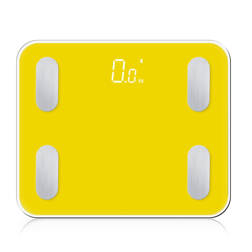 11.3-inch Smart Bluetooth Digital Scales - Body Fat Weight Scales with Free APP - Body Composition BMI Monitor Analyzer, Work with Both iOS and Android Smartphones(Yellow)