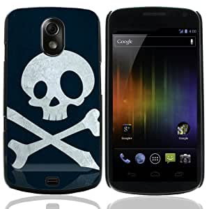 MobileONE COMBO PACK SAMSUNG GALAXY SAMSUNG GALAXY NEXUS ( i9250 / i515 )- Skull And Bones - Aluminum Back Case with 3x Screen Protectors & M1 Capacitive Stylus Pen