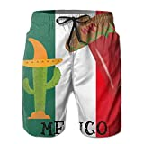 Men's Mexico Flag Cactus Pepper Mens Quick Dry Swim Trunks Athletic Beach Board Shorts Pants XX-Large