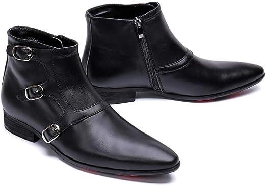 Wensa Zapatos de Cuero Puntiagudos para Hombre, Botas Vaqueras con ...