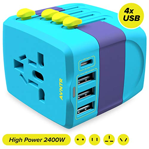 Ultimate Travel Adapter by AVNTR // 2400W All in One International Wall Charger with 10A Universal AC Plug for High Power Appliances // 25W Smart USB & Type-C // Worldwide 150+ Countries USA EU UK AUS