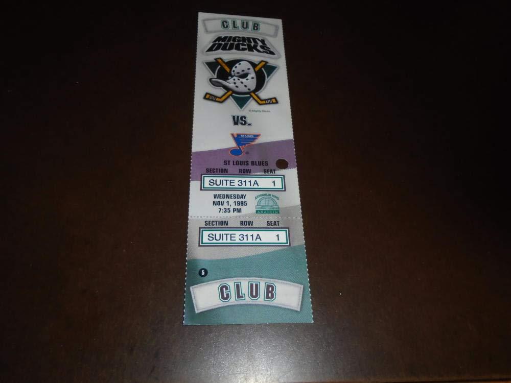 1995 ST. LOUIS BLUES AT ANAHEIM DUCKS NHL FULL TICKET PAUL KARIYA GOAL