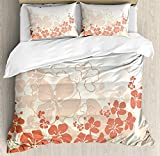 Hawaiian Duvet Cover Set Twin Size, Hawaii Flowers Silhouette Tropical Plants Ornamental Floral Illustration, 4 piece Bedding Set Bedspread for Childrens/Kids/Teens/Adults, Fuchsia Salmon White
