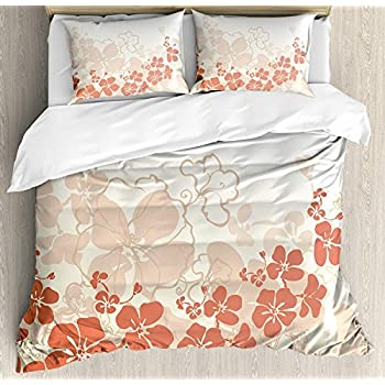 Image of Hawaiian Bedding Set Cal-King, Hawaii Flowers Silhouette Tropical Plants Ornamental Floral Illustration, Quilt Duvet Cover Set with 2 Pillowcases for Kids/Teens Girls Boys,Fuchsia Salmon White Home and Kitchen