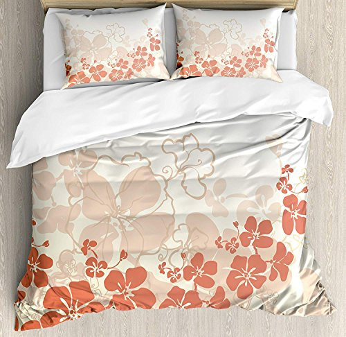 Hawaiian 4 Pieces Bedding Set Twin, Hawaii Flowers Silhouette Tropical Plants Ornamental Floral Illustration, Duvet Cover Set Decorative Bedspread for Childrens/Kids/Teens/Adults,Fuchsia Salmon White by TweetyBed