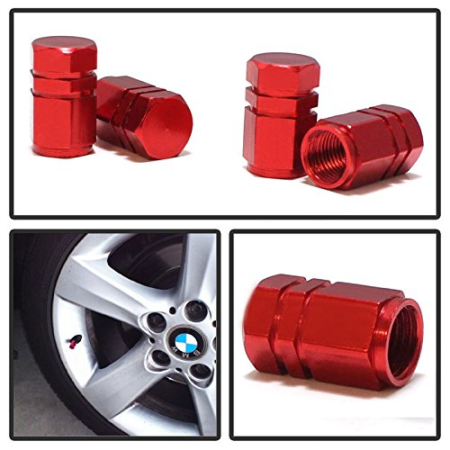 iJDMTOY (4) Tuner Racing Style Red Aluminum Tire Valve Caps (Hexagon Shape) (Led Caps Valve Red)