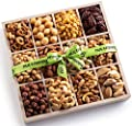 Nut Cravings Mixed Nuts Wooden Gift Box – Gourmet Bulk Assortment of Kosher Nuts, Pretzel Pub Mix & Other Salty, Savory Snacks for Christmas, Holiday or Corporate – Large Variety in Sectional Tray
