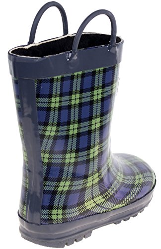 Kids Rain Boots, Faux Fur Lined Rubber Boots with Handles, Blue Green Plaid Size 13 by Forever Young (Image #1)