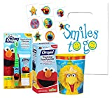 Sesame Street Elmo Toddler Trainning Set! Toothbrush, Fluoride Free Toothpaste & Mouthwash Rinse Cup! Plus Sesame Street Positive Reinforcement Reward Tattoos