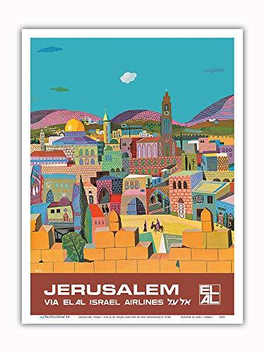 Pacifica Island Art - Jerusalem, Israel - via El Al Israel Airlines - Vintage Airline Travel Poster by Peri Rosenfeld c.1970s - Master Art Print - 9in x 12in
