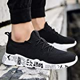 AIMTOPPY HOT Sale Men Low Ankle Fashion Solid color mesh cross strap breathable non-slip round head sports shoes running shoes hiking shoes (US:8.5, Black)