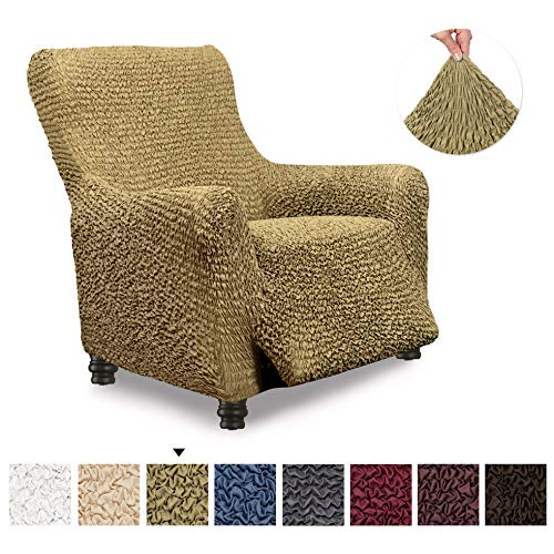 Recliner Cover - Recliner Chair Cover - Recliner Slipcover - Soft Polyester Fabric Slipcover - 1-piece Form Fit Stretch Stylish Furniture Protector - Microfibra Collection - Camel (Recliner)