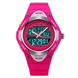 Girls Watches Digital Analog Dual Time Display Watch for Teens Youth Waterproof Rose