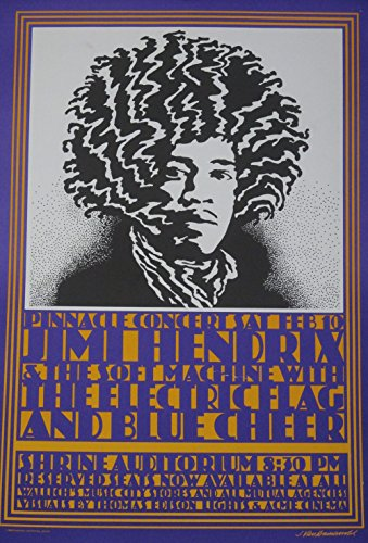 (Jimi Hendrix and the Soft Machine with The Electric Flag and Blue Cheer Pinnacle Concert Poster)
