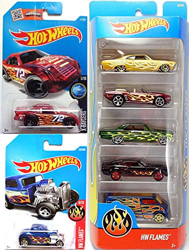 - 7Flame Flames 2017 5-Pack Bundled with Classic Ford 32 & Stokar x-Racer- Chevy Impala / Camaro (Convertible) / Chevy Nova / Shelby GT500 / Dodge Van 3 Items