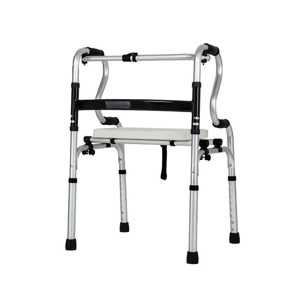 Height 8 Adjustable, one-Button Folding, 4 Wheels, with Brakes, Bath Board, Anti-Slip Elderly Walker. (Size : C)