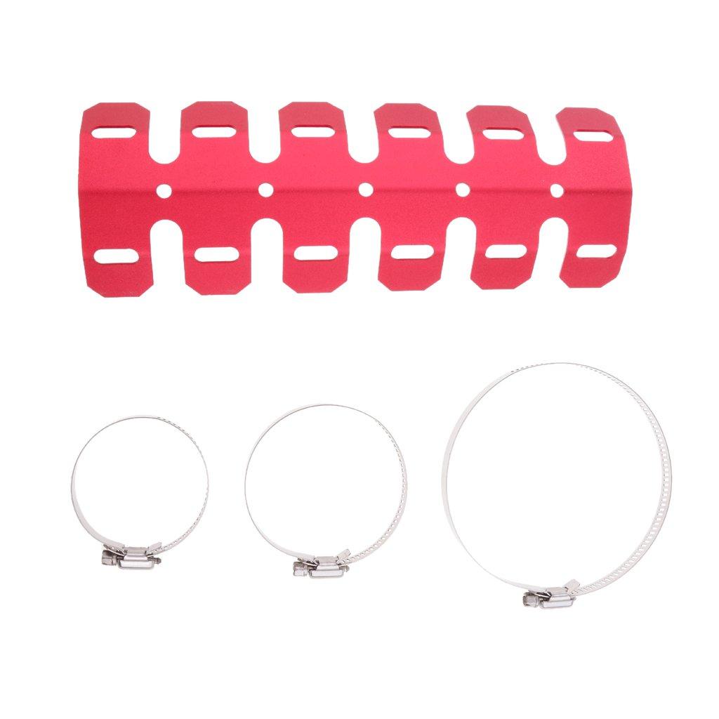 Sharplace Cubierta de Proteger de Tubo Silenciador de Extractor 25cm y Anillos Protecció n de Calor para Motocicleta - Plata
