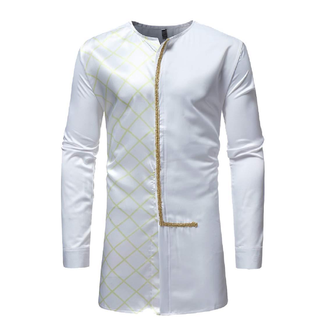 XiaoShop Mens Casual Plaid African Mid-Long Long Sleeve Dashiki T-Shirt