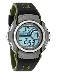 Sportech Unisex | Military Kaki Green and Black Water Resistant Digital Sport Watch | SP10116