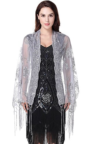 Occasions Bridal Evening Wear - BABEYOND 1920s Shawl Wraps Sequin Fringed Evening Cape Wedding Bridal Shawl Scarf for Evening Dresses Party (Gray)