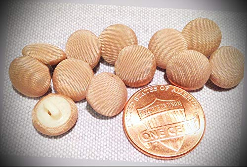 JumpingLight 12 Tan Fabric Covered Slightly Domed Plastic Shank Buttons 3/8'' 10mm 7854 Perfect for Crafts, Scrap-Booking, Jewelry, Projects, Quilts