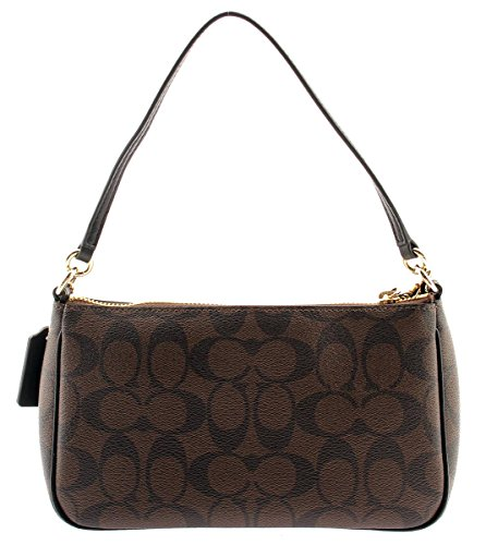 Handle Canvas Pouch COACH Top Signature Brown Crossbodle Coated wUII8O