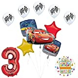 Mayflower Products Disney Cars 3 Lightning McQueen 3rd Birthday Party Supplies and Balloon Decorations