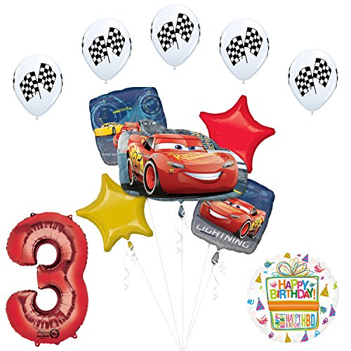 Mayflower Products Disney Cars 3 Lightning McQueen 3rd Birthday Party Supplies and Balloon -