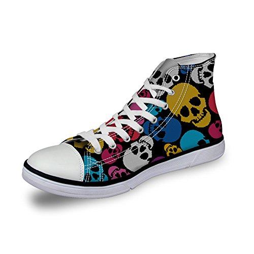 Pour U Designs Chaussures De Toile Haute Coupe Sneaker Saison Lace Ups Crâne Chaussures Formateurs Occasionnels Pour Les Femmes Crâne-8