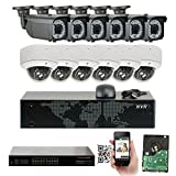 GW 16 Channel 1920P NVR Video Security Camera System - 6 x Bullet & 6 x Dome 5MP 1920P Weatherproof 2.8-12mm Varifocal Cameras, Realtime Recording 1080p @ 30fps, Pre-Installed 4TB HDD