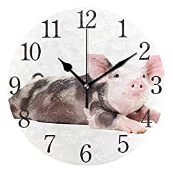 SUABO Wall Clock Arabic Numerals Design Funny Little Pig Round Wall Clock for Living Room Bathroom Home Decorative