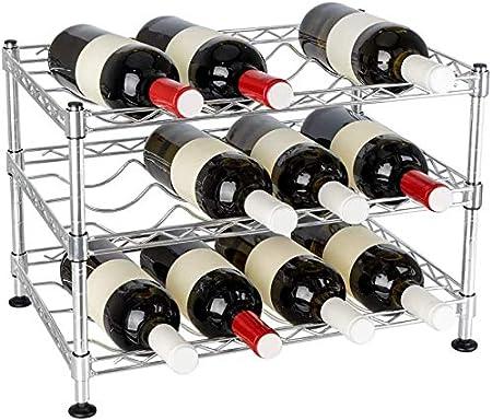 Vinoteca o botellero metálico – Soporte para Botellas de Vino – Estantes para Bebidas para frigoríficos o armarios (Plateado, 3 estantes 45x30x30cm)