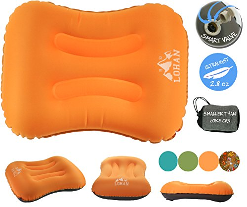 Inflatable Camping Pillow for Sleeping/Backpacking Pillow Ultralight, Self Inflating Pillow, Hiking with Neck & Lumber Support (Smart Valve) (Inflatable Pillow)